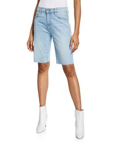 High-Waist Straight Bermuda Shorts