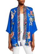 Johnny Was Bonian Floral Georgette Kimono w/ Embroidered