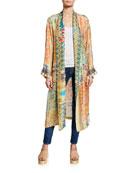 Johnny Was Prima Printed Long-Sleeve Silk Twill Robe