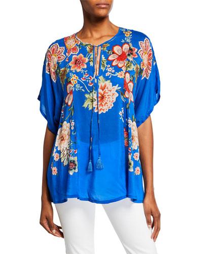 Zadie Floral-Print Split-Neck Short-Sleeve Georgette Top