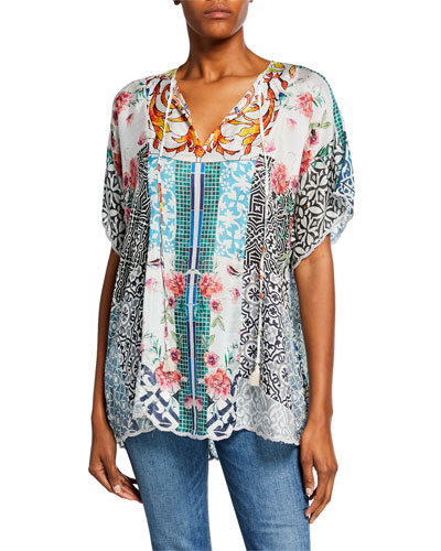 Plus Size Retrix Split-Neck Silk Georgette Blouse