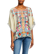 Johnny Was Lenora Printed Dolman-Sleeve Silk Twill Top