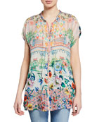 Johnny Was Cali Mixed-Print Button-Front Cap-Sleeve Georgette