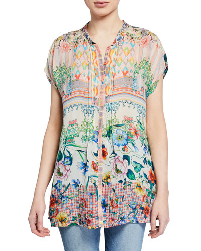 Cali Mixed-Print Button-Front Cap-Sleeve Georgette Blouse