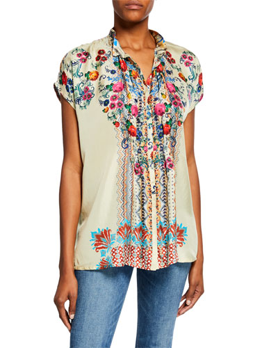 Cali Button-Front Cap-Sleeve Silk Twill Blouse