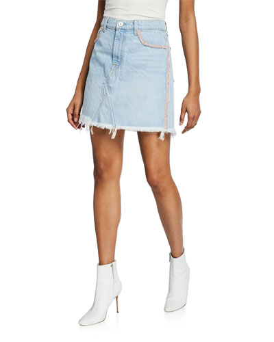 Frayed Denim Short Skirt with Fringe