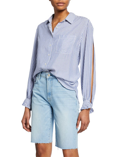 Striped Button-Down Split-Sleeve Shirt