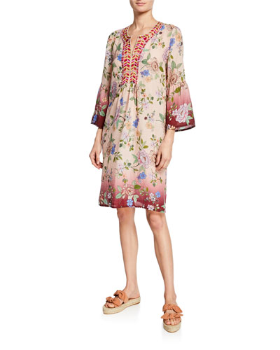 Floral Flare-Sleeve Tunic Linen Dress