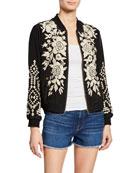 Johnny Was Mela Floral-Embroidered Silk Bomber Jacket