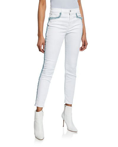 Exclusive High-Waist Skinny Ankle Jeans with Fringe