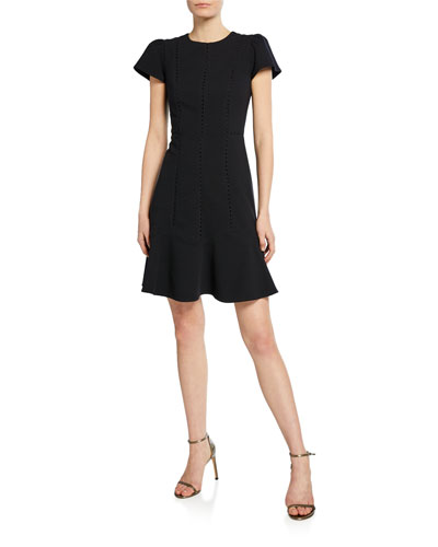 Short-Sleeve Stretch Textured Dress