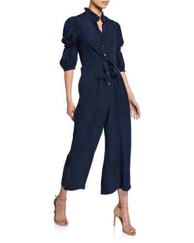 b4c7880cbc6 Quick Look. Rebecca Taylor · Heart Jacquard Silk Jumpsuit. Available in Navy