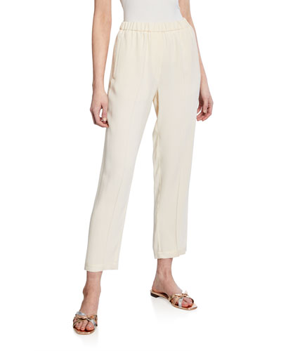 Crepe-Back Satin Pull-On Elastic Pants