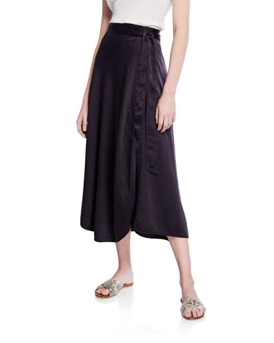 Silk Cloque Side-Tie Midi Skirt
