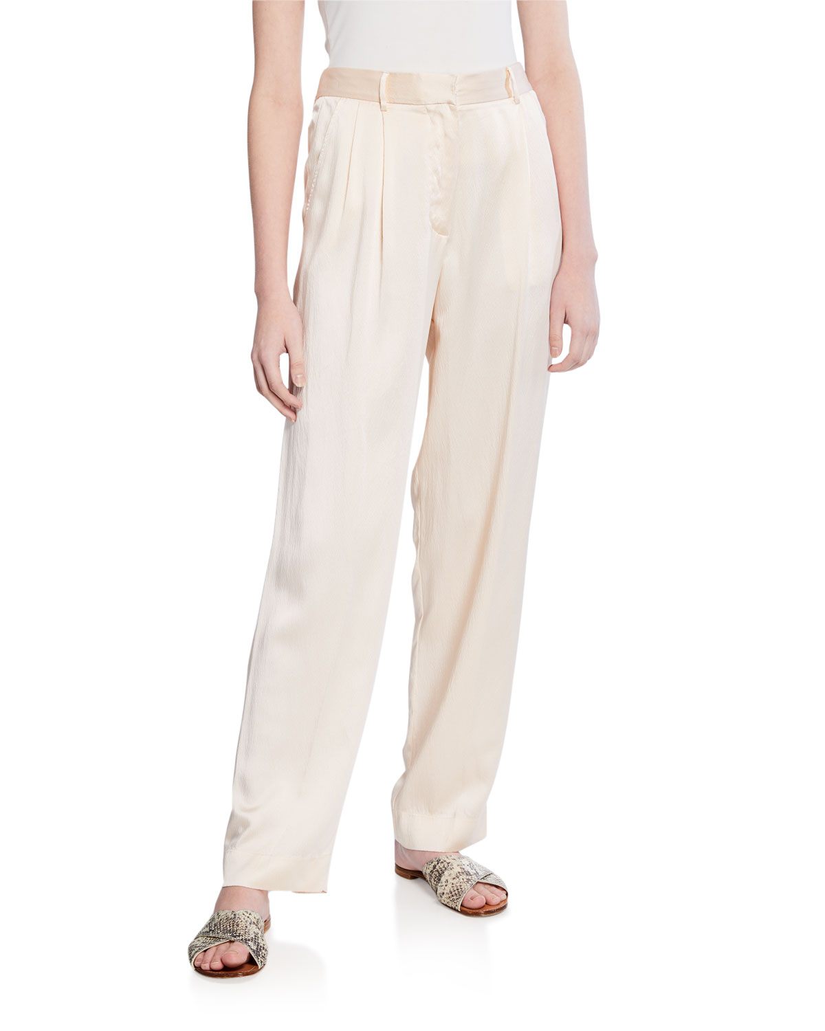 FORTE FORTE SILK CLOQUE PANTS