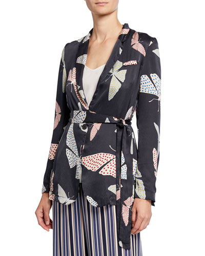 Butterfly-Print Satin Belted Jacket
