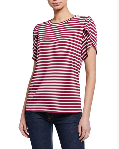 Striped Crewneck Petal-Sleeve T-Shirt