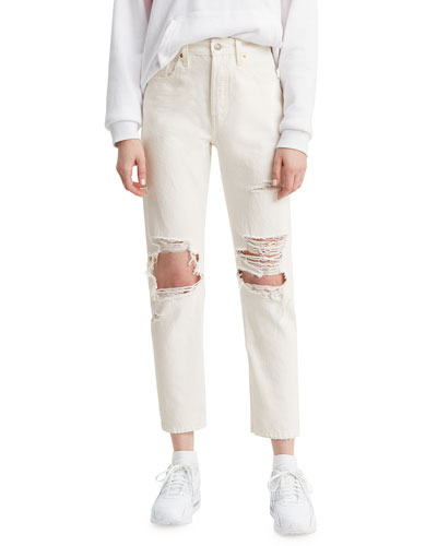 501 Crop Distressed Straight Jeans