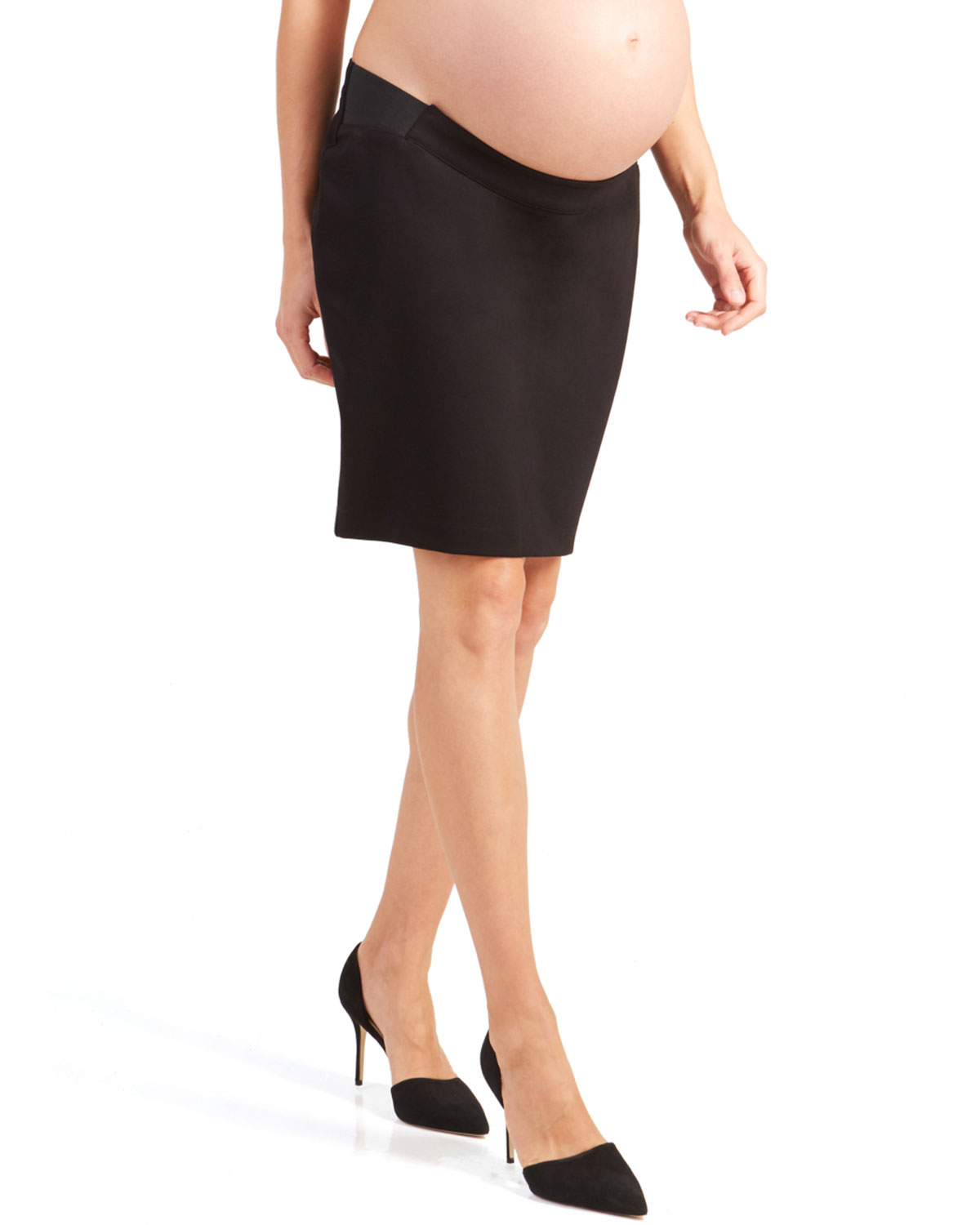 Maternity Ponte Pencil Skirt with Side Inset