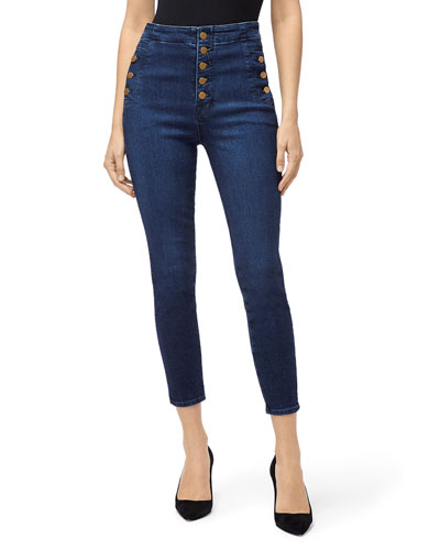 Natasha High Crop Skinny Jeans with Buttons