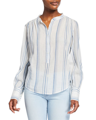 Striped Button-Front Long-Sleeve Gauze Top