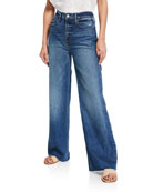 FRAME Heritage Wide-Leg Raw-Edge Jeans