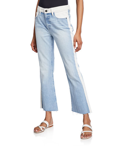 Le Crop Mini Boot-Cut Two-Tone Jeans
