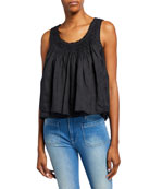 FRAME Scoop-Neck Smocked-Yoke Sleeveless Layered Top