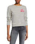 MOTHER The Boat-Neck Matchbox Striped Sweatshirt