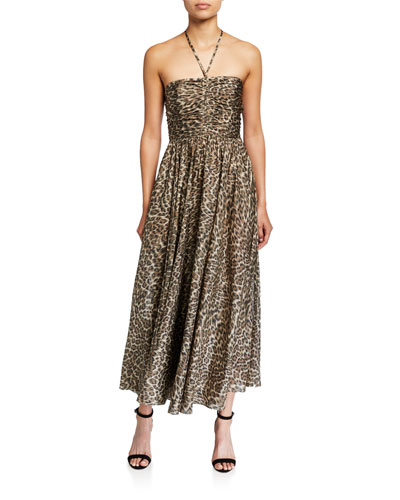 Suraya Ruched Leopard-Print Silk Halter Dress