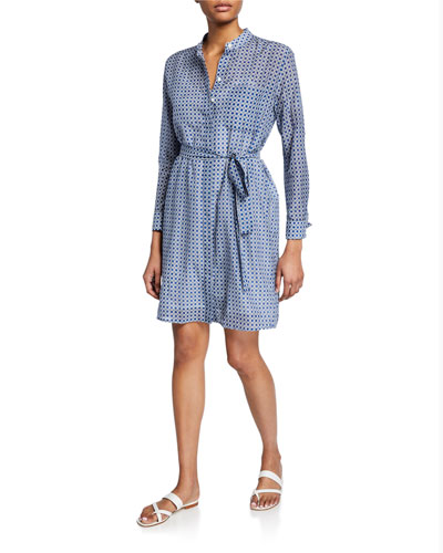 Ravena Printed Long-Sleeve Button-Front Dress