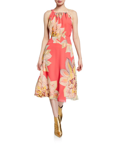 Summery Floral-Print Chiffon Halter Dress