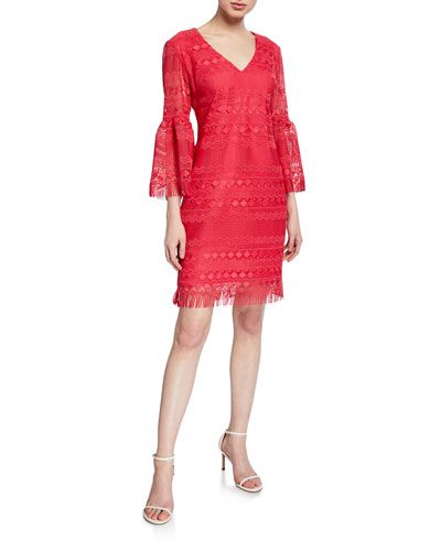 Keys V-Neck Bell-Sleeve Crochet Dress