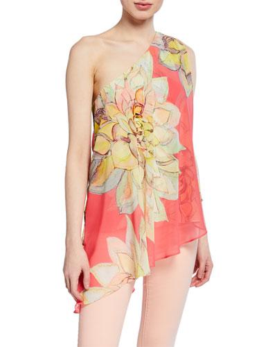 2770e16c33dfdc Quick Look. Trina Turk · Nimah Floral-Print One-Shoulder Asymmetric Chiffon  Top
