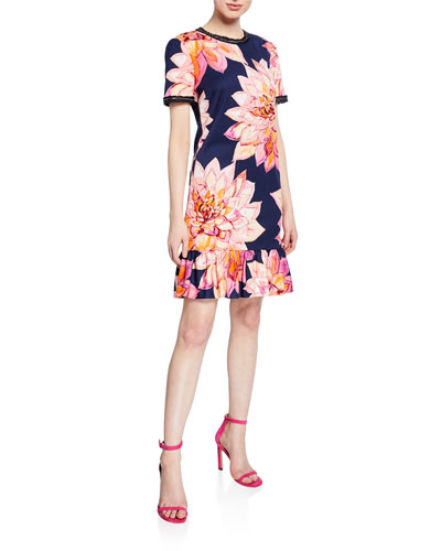 Coast Floral-Print Short-Sleeve Ruffle-Hem Dress