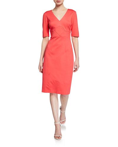 Ashton V-Neck Elbow-Sleeve Scuba Dress
