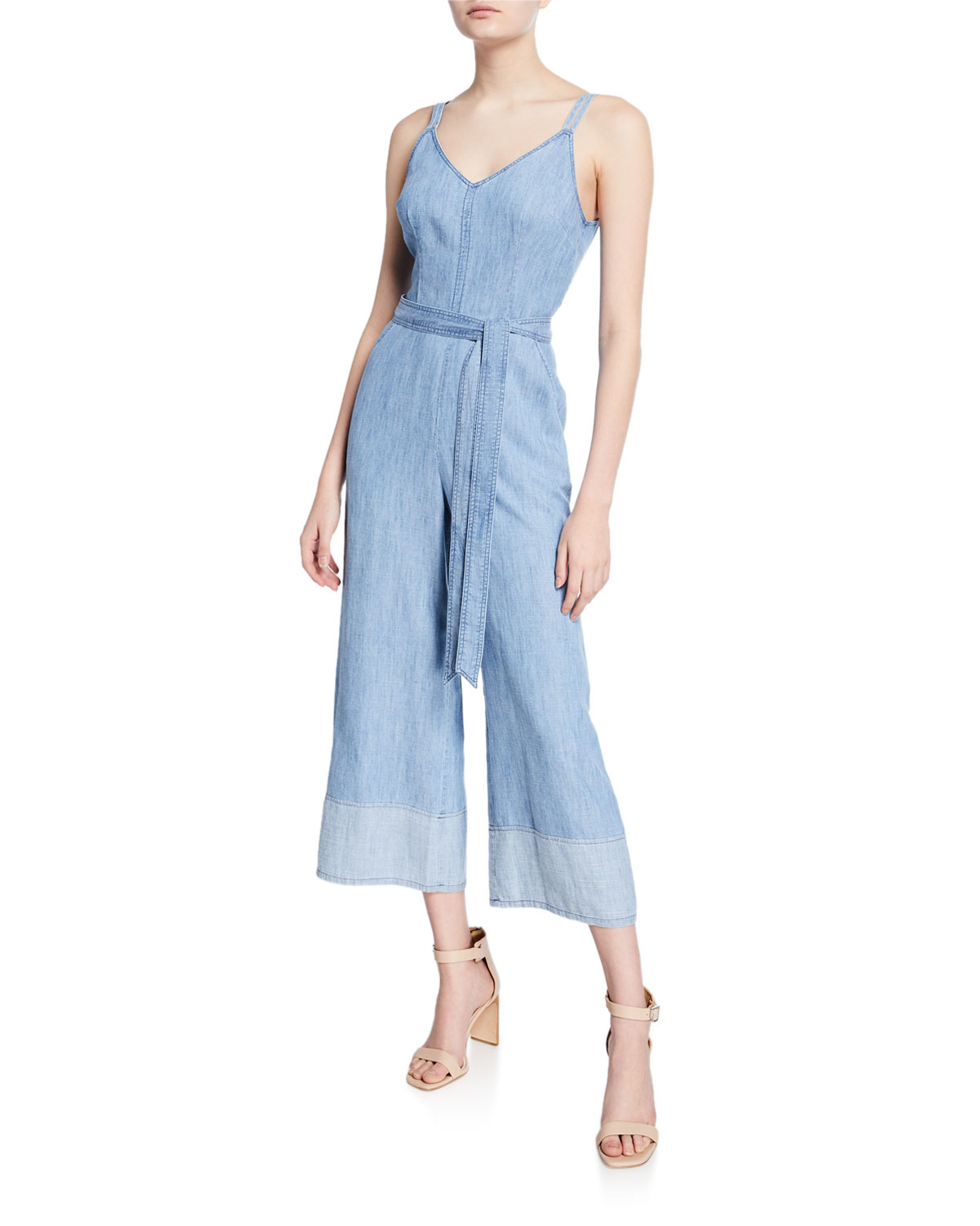 Trina Turk Suits CLOUD SLEEVELESS WIDE-LEG CROP JUMPSUIT