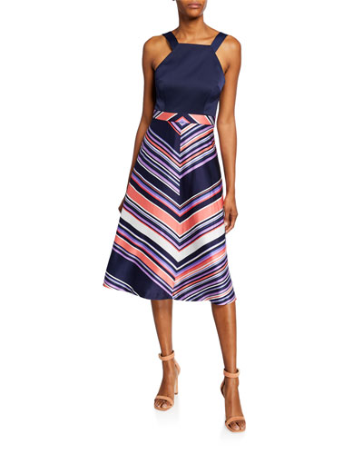 Arvida Chevron Stripe Halter Dress