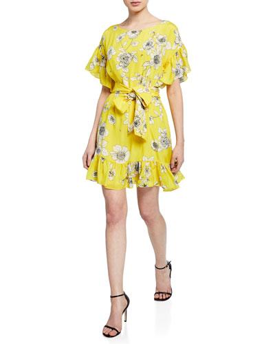 Ellamae Floral-Print Drop-Shoulder Tie-Waist Ruffle Dress