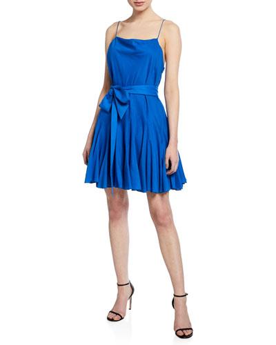 Webber Cowl-Neck Sleeveless Dress w/ Belt