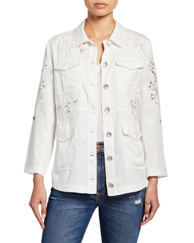 Charline Embroidered Oversized Military Jacket