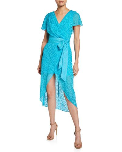 Darva Gathered Mock-Wrap High-Low Dress