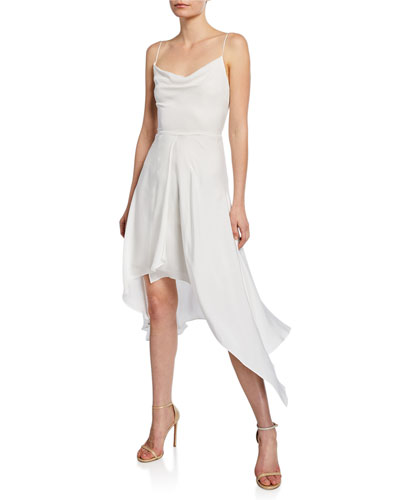 Alita Spaghetti-Strap Drapey Asymmetrical Dress