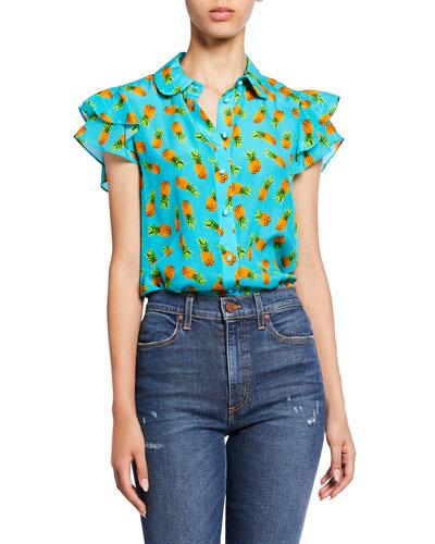 Ziggy Pineapple-Print Button-Down Ruffle Cap-Sleeve Blouse