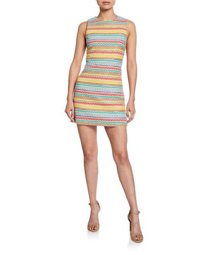 Coley Striped Crewneck Sleeveless Mini Dress