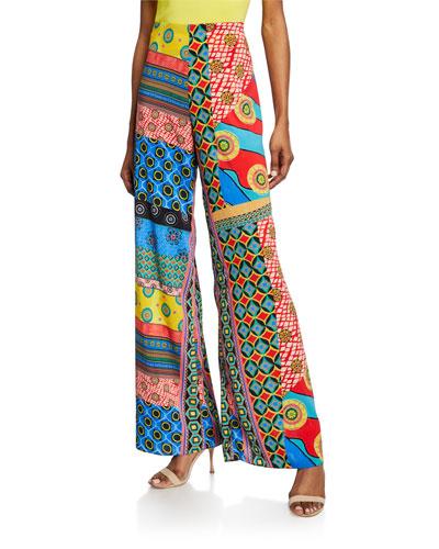 Athena Mixed-Print Wide-Leg Pants