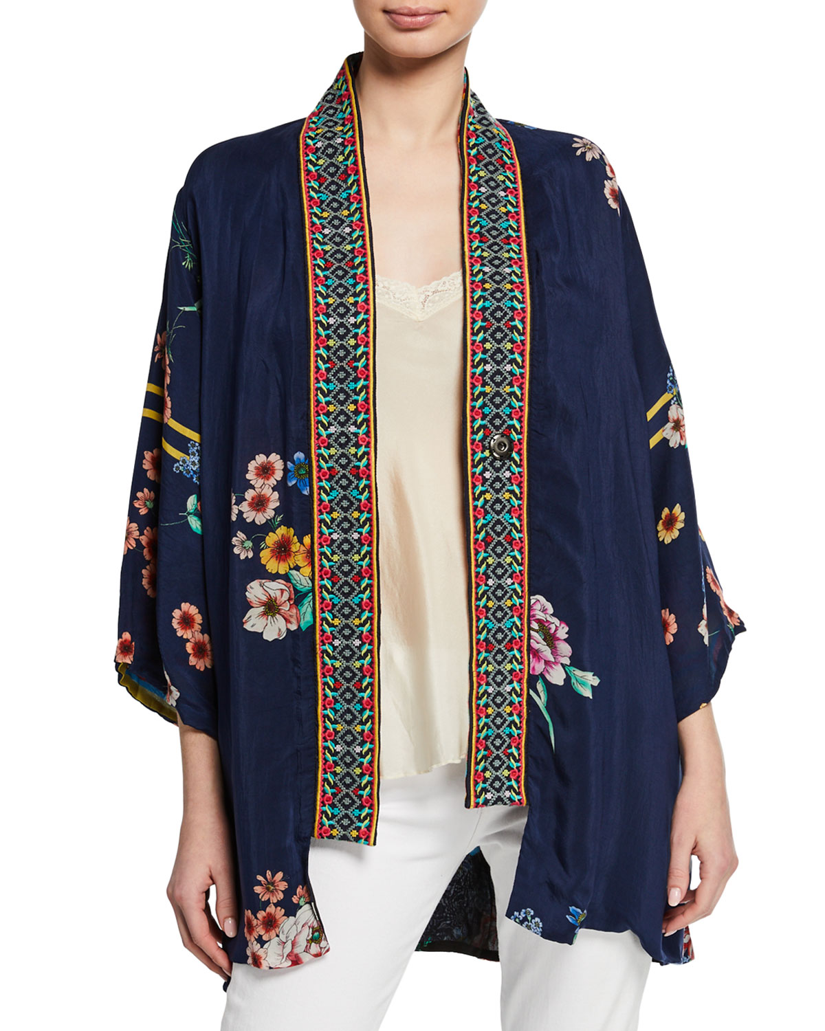 Johnny Was Tops PETITE MACI FLORAL GEORGETTE REVERSIBLE KIMONO W/ EMBROIDERED TRIM