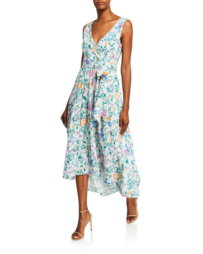 Neves Printed Tie-Front High-Low Dress