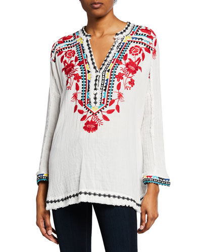 Petite Belvedere Long-Sleeve Embroidered Gauze Blouse