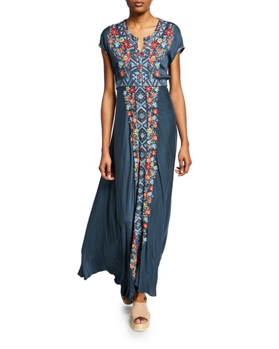 Cassie Embroidered Short-Sleeve Maxi Dress